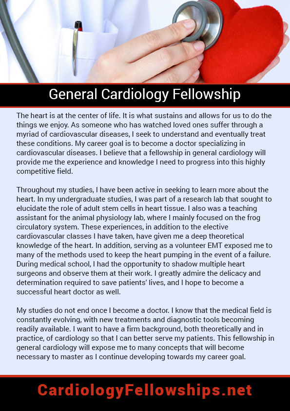 Great Cardiology Fellowship Personal Statement Samples  Cardiology
